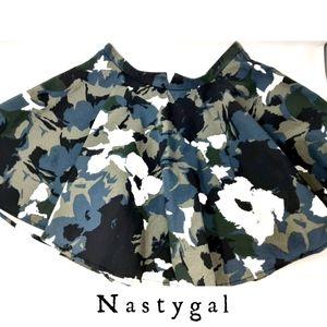 Nasty Gal Floral Skater Flare Skirt L